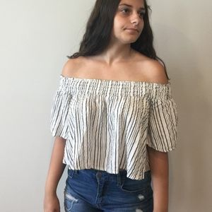 KIMCHI Blue Stripped off-shoulder Crop Top - small